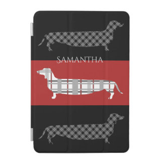 Plaid Dachshunds on Red and Black Stripes iPad Mini Cover