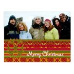 Plaid  Damask Merry Christmas Postcard