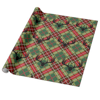 Plaid Deer Antler Wrapping Paper