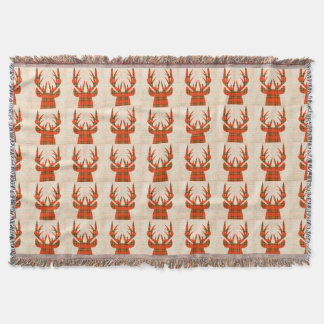 Plaid Deer Throw Blanket