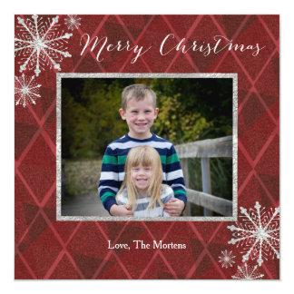 Plaid Dimond Snowflake Merry Christmas Photo Card 13 Cm X 13 Cm Square Invitation Card