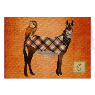 Plaid Donkey & Owl Monogram Notecard Greeting Card