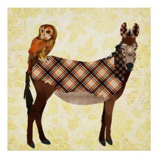 Plaid Donkey & Owl Poster