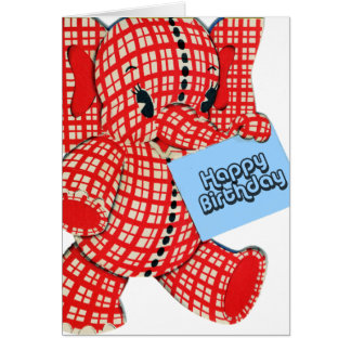 Plaid Elephant Birthday Card
