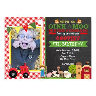 "Plaid Farm Tractor Birthday Party Invitation 5"" X 7"" Invitation Card"
