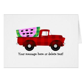 Plaid Farm truck and Giant Watermelon Slice Card