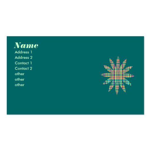 plaid flower business card templates
