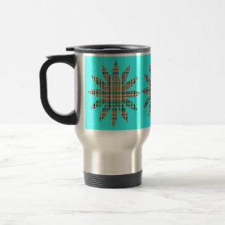 plaid flowers travel mug