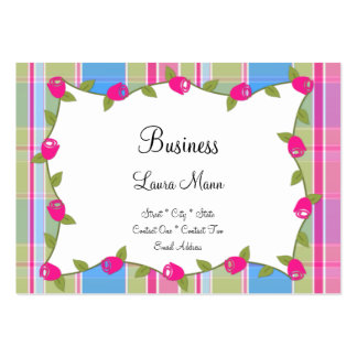 Plaid Frame With Roses Business Cards