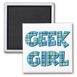 Plaid Geek Girl Blue and Green Magnet