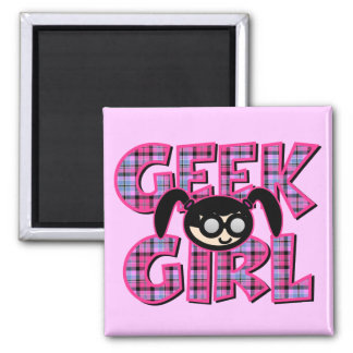 Plaid Geek Girl with Graphic Square Magnet
