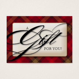 Plaid Gift Certificate Salon Red Black