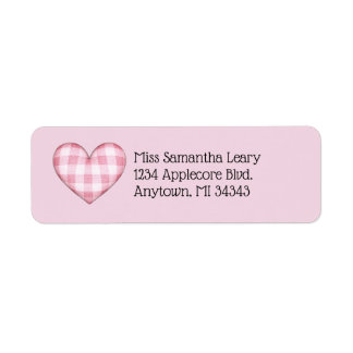 Plaid Heart 3D with Custom Text Return Address Label