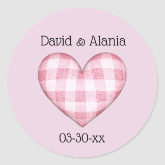Plaid Heart 3D with Names and Date Classic Round Sticker