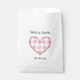 Plaid Heart 3D with Names and Date Favour Bag