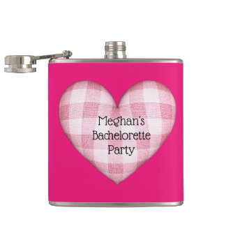 Plaid Heart Bachelorette with Custom Text Hip Flask
