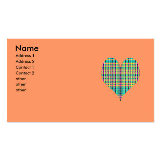 plaid heart pack of standard business cards