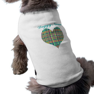 Plaid Heart Sleeveless Dog Shirt