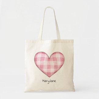 Plaid Heart with Name Tote Bag