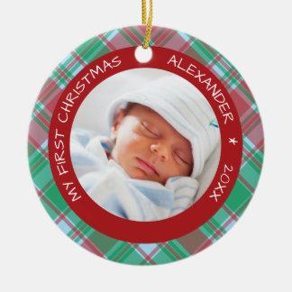 Plaid I Baby's First Christmas Photo Ceramic Ornament