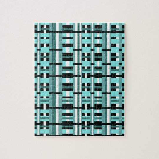 Plaid in Aqua, Teal, Black & White Jigsaw Puzzle