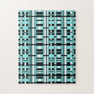Plaid in Aqua, Teal, Black & White Jigsaw Puzzle