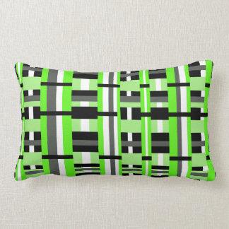 Plaid in Lime Green, Black & Gray Cushions