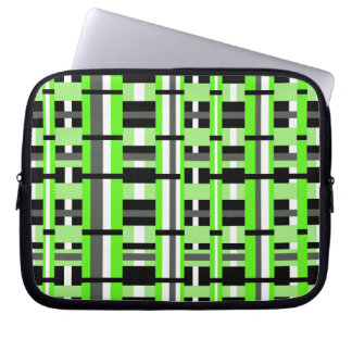 Plaid in Lime Green, Black & Gray Laptop Computer Sleeve