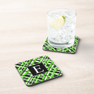 Plaid in Lime Green, Black & Gray Monogram Coasters