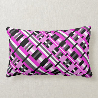 Plaid in Pink, Black & Gray Diagonal Pillows