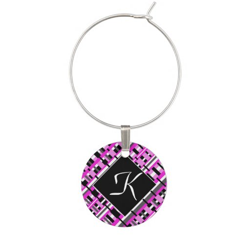 Plaid in Pink, Black & Gray Monogram Customize Wine Glass Charms