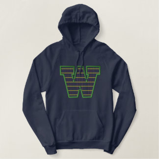 Plaid Letter W Embroidered Hoodie