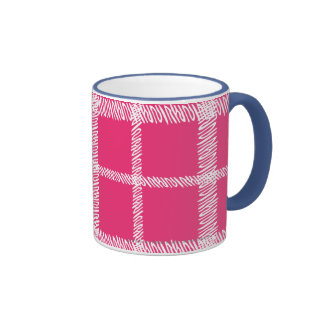 Plaid Magenta Ringer Mug