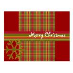 Plaid Merry Christmas Postcard