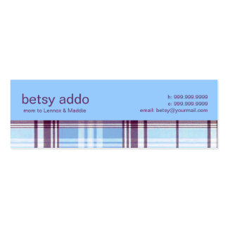 Plaid Mommy Calling Card Pack Of Skinny Business Cards