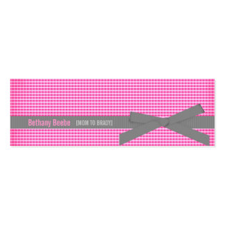 Plaid Mommy Calling Cards (Pink) Pack Of Skinny Business Cards