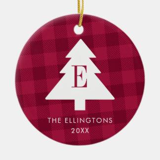 Plaid Monogram Christmas Ornament with Photo