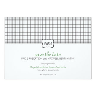 Plaid Monogram Save the Date Card