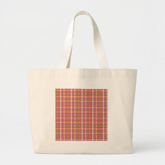 Plaid-on-African-Violet-Background Pattern Tote Bags