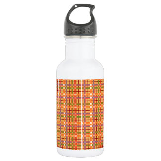 Plaid-On-Beeswax-Orange-Yellow-Background Pattern 532 Ml Water Bottle