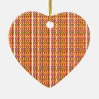 Plaid-On-Beeswax-Orange-Yellow-Background Pattern Ceramic Heart Decoration