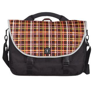 Plaid On Black Background Pattern Bags For Laptop