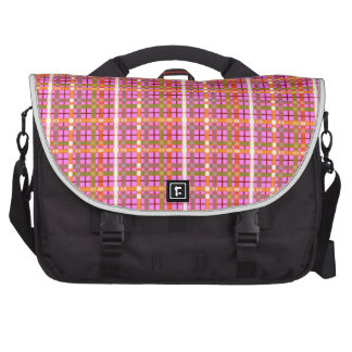 Plaid-On-Bubblegum-Pink-Background Pattern Laptop Bag