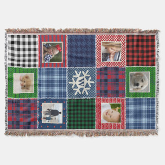 Plaid Patchwork Photo and Monogrammed Snowflake Throw Blanket