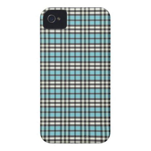 Plaid Pattern BlackBerry Bold Case (aqua/black)
