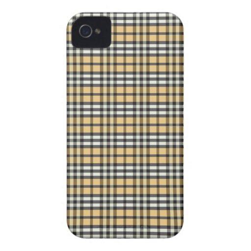 Plaid Pattern BlackBerry Bold Case (gold/black)