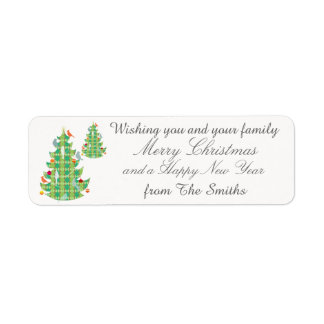 Plaid Pattern Christmas Tree Birds Personalized Return Address Label