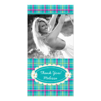Plaid Pattern Cute Daisy flower thank you Picture Card