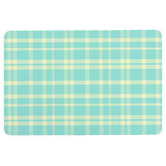 PLAID PATTERN Floor Mat, Pastel Yellow & Mint Floor Mat