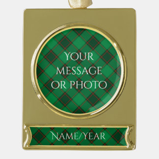 Plaid Pattern - Green and Red Gold Plated Banner Ornament